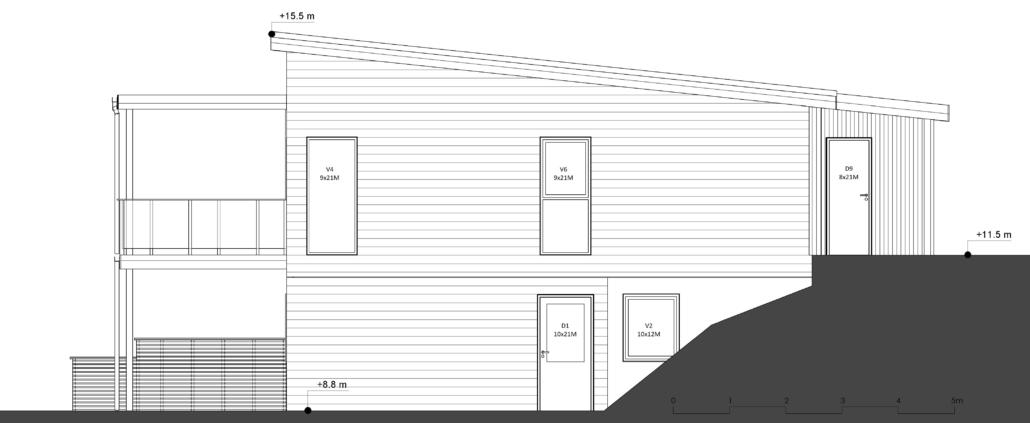 Fanevik bygg - Tomannsbustad nr 7 og 11 - Instetunet - Elevation - Øst