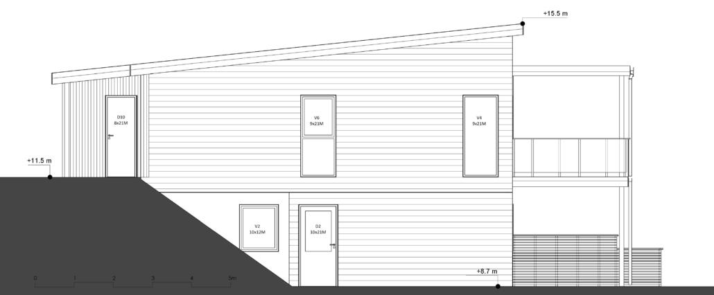Fanevik bygg - Tomannsbustad nr 7 og 11 - Instetunet - Elevation - vest