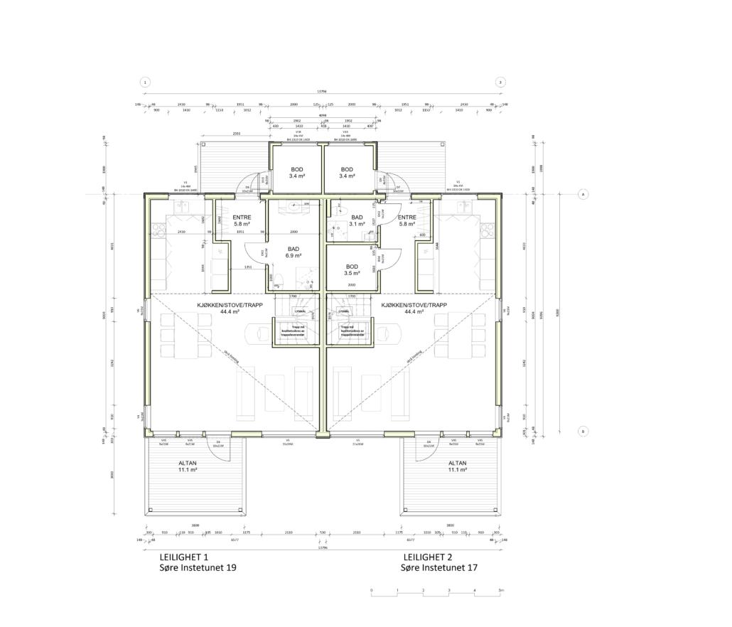 Fanevik bygg - Tomannsbustad nr 7 og 11 - Instetunet - plan 1.et