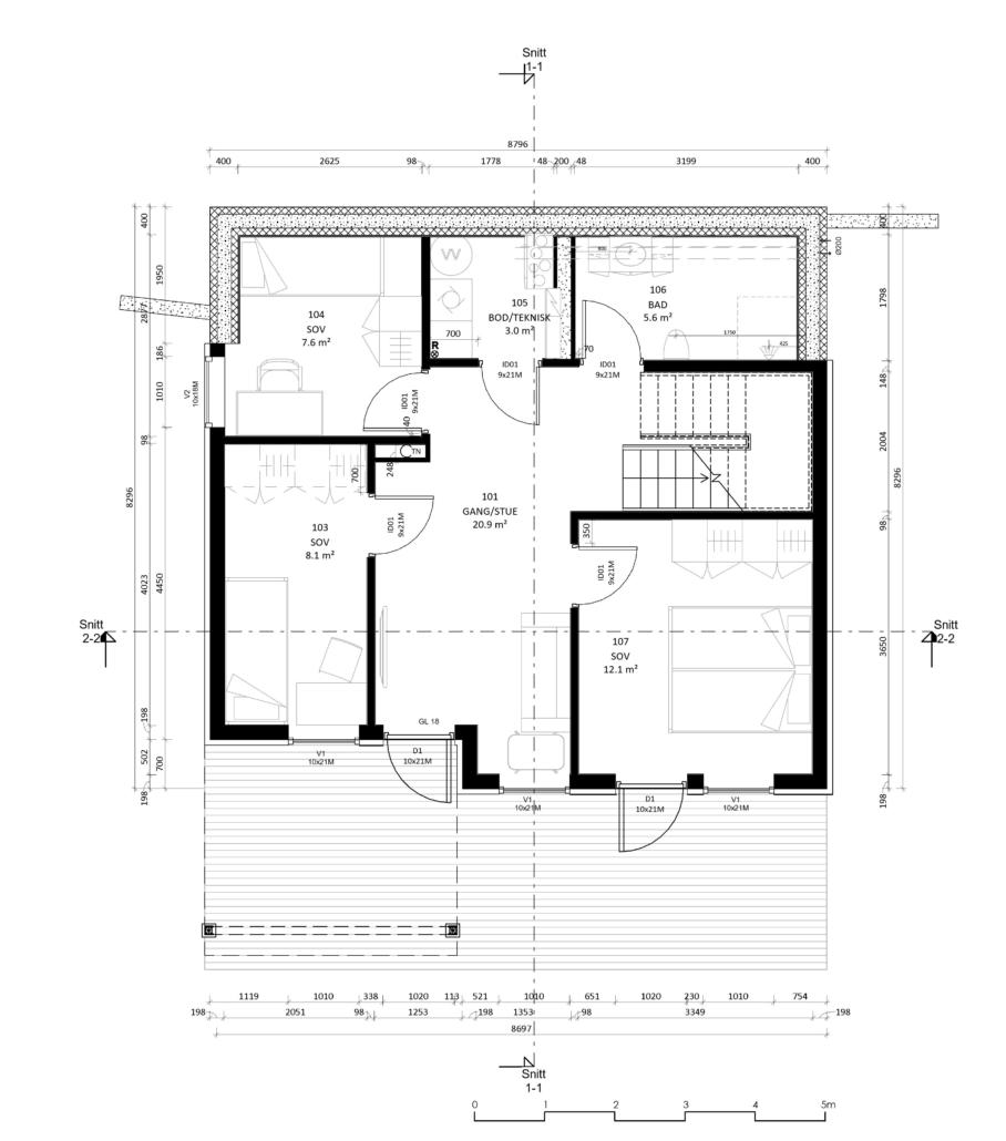 Fanevik bygg Instetunet - Melinda m/garasje golvplan 2 - u. et.