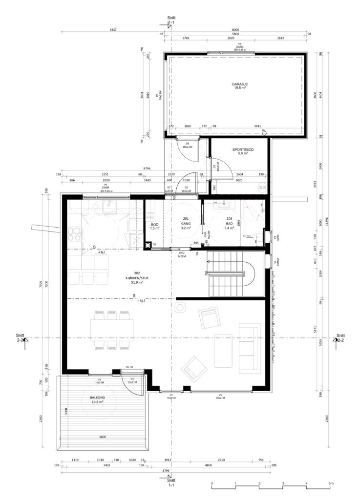 Fanevik bygg Instetunet - Melinda m/garasje golvplan 2 - 1. et.