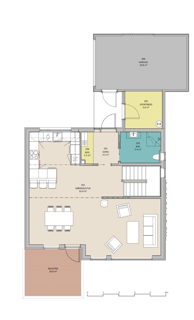 Fanevik bygg Instetunet - Melinda m/garasje arealplan - 1. et.